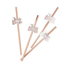 Rose Gold Foiled Team Bride Hen Party Straws 16 Pack by Ginger Ray, the perfect gift for Explore more unique gifts in our curated marketplace. Barn Wedding Centerpieces, Gold Party Decorations, Baby Shower Decorations For Boys, Paper Straws, Team Bride, Classy Bachelorette Party, Bachlorette Party, Cocktail Party Decor, Accessories