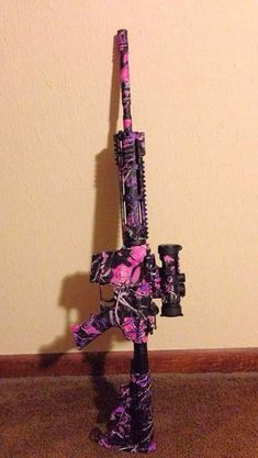 This looks fun! But it& only camo if I& swimming in the Pepto Bismol River in the jungle! Camo Guns, Hunting Guns, Hunting Camo, Weapons Guns, Guns And Ammo, Gun Aesthetic, Muddy Girl Camo, Pink Guns, Pink Camo