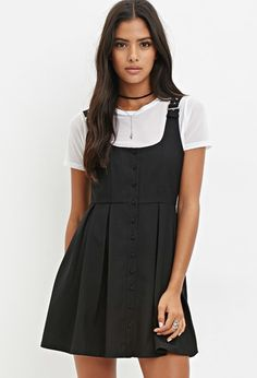 pinafore dress with pleats and buckled straps