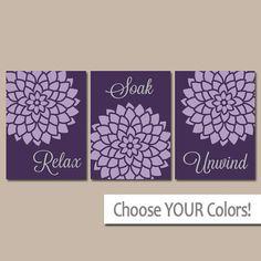 BATHROOM Wall Art CANVAS Or Prints Purple Lavender Relax Soak Unwind Dahlia  Flower Burst Choose Colors Set Of 3 Bathroom Home Decor | Pinterest |  Bathroom ...