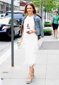 Jessica Alba embraces the metallic trend with Bionda Castana Zoe Calf Leather Laser Cut Platform Sandals. (Photo credit: Who What Wear)