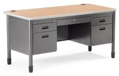OFM 66360-MPL 30X60 Teachers Desk with Center Drawer, Maple and Gray  Need durability with style? Choose OFM's Mesa Series Double Pedestal Executive Credenza, Model 66260. The heavy-duty, 16-gauge steel frame features scratch-resistant powder coat paint finish so it will keep its good looks even under heavy use. The bull-nose edge desktop protects the 1″ thick high-pressure laminate top, which comes in your choice of finishes. Includes a locking center drawer and full ball bearing su..