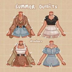 Club Outfits, Mode Outfits, Summer Outfits, Drawing Anime Clothes, Clothing Sketches, Cute Art Styles, Fashion Design Drawings, Cute Drawings, Outfit Drawings