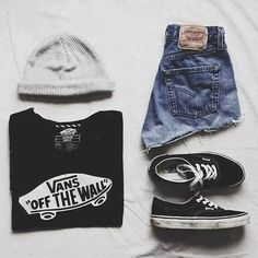 Vans of the wall vans beanie gray beanie shorts high waisted shorts vans shoes tumblr hipster