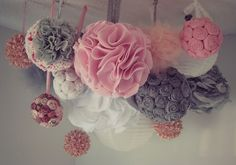 Southern Belle Soul, Mountain Bride Heart: Pink and Grey Shabby Chic Mobile (DIY Multipurpose POM POM Mobile/Chandelier)
