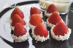 These easy, adorable Santa hats are a great snack for a holiday party. No sugar crash from these. Strawberry Santa Hats, Strawberry Dip, Raspberry, Easy Holiday Recipes, Easy Recipes, Easy Meals, Vanilla Yogurt, Holiday Parties, Cheesecake