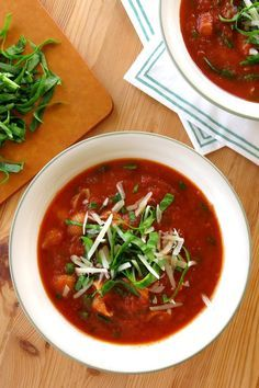 Tomato Florentine Soup with Pasta - check out the trick that infuses this recipe with flavor and it's still ready in under 20 minutes.