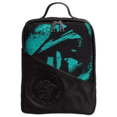 Black & Green Printed Leather Backpack (32cm), Young Versace