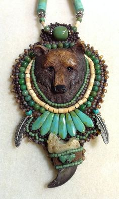 Brother Bear Spirit by Freespiritbeading on Etsy Metal Clay Jewelry, Jewelry Art, Beaded Jewelry, Jewelry Design, Jewellery, Bead Embroidery Jewelry, Beaded Embroidery, Feather Hair Pieces, Native American Moccasins