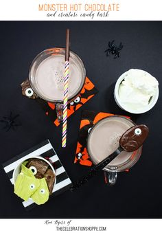 Monster Hot Chocolate and Creature Candy Bark perfect for Halloween parties and trick or treat | @kimbyers