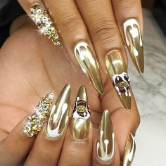 Newest chrome nail art designs 2019 - top 77 design - Our Nail Chrome Nail Polish, Metallic Nail Polish, Chrome Nails, Acrylic Nails, Mirror Nail Polish, Mirror Nails, Nail Swag, Romantic Nails, Nail Art Designs