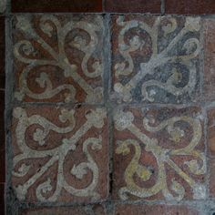 Tree of Life - Medieval Tiles - Photos from the church and almshouses of St Cross, Winchester, Hampshire, England.