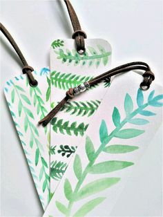Pin now, shop later! Greenery Watercolor bookmarks on Etsy Watercolor Bookmarks, Watercolor Projects, Watercolor Cards, Floral Watercolor, Creative Bookmarks, Diy Bookmarks, Bookmark Craft, Bookmark Ideas, Book Markers