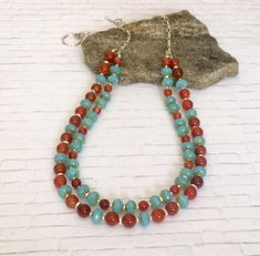 Red Agate Necklace Agate Bead Necklace Aqua Blue Czech Picasso Beads Red Gemstone Jewelry Multi Strand Bold Necklace Valentines Day Gift Her Bold Necklace, Agate Necklace, Agate Beads, Gemstone Jewelry, Beaded Jewelry, Glass Beads, Handmade Necklaces, Handcrafted Jewelry, Vintage Necklaces