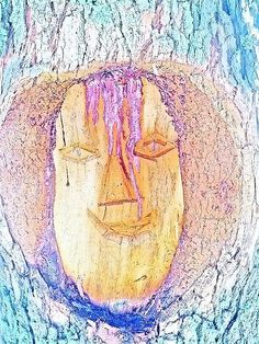 This face carved in the side of a tree trunk. Found on a roadside rest stop when I stopped for a break. I ran it through a photo app on the phone and came up with this.