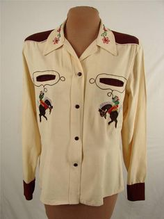 Western Maid Vintage Embroidered Rayon Gabardine Rodeo Womens Cowboy Shirt Med | eBay