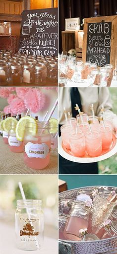 diy wedding drinks with mason jars for country wedding ideas