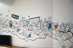 Mural project for Capsule CRM based in Manchester Doodle Wall, Doodle Art Drawing, Wall Drawing, Street Graffiti, Graffiti Wall, Wall Murals, Office Mural, Office Art, Wall Paint Patterns