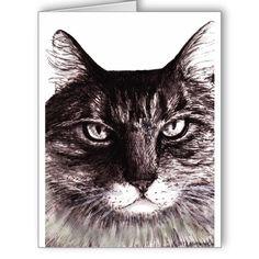 Serious Cat Greeting Card