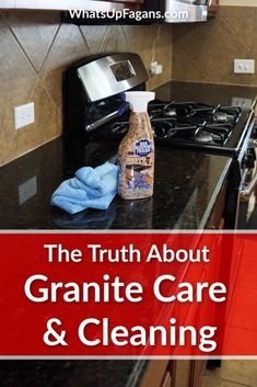 How to clean granite countertops in your kitchen using the best granite cleaner that is pH balanced and make the granite streak-free. Deep Cleaning Tips, House Cleaning Tips, Car Cleaning, Spring Cleaning, Cleaning Hacks, Cleaning Solutions, Kitchen Cleaning, Cleaning Recipes, Best Granite Cleaner