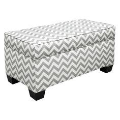 Skyline Zig Zag Grey and White Upholstered Storage Bench, option if we need additional storage in bedroom...