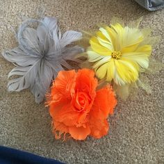 Flower hair clips/ pins Yellow, grey, and orange flower clips/ pin Claire's Accessories