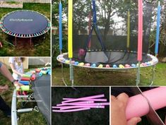 Trampolines are guaranteed to provide your family hours and hours of fun, what a great way to keep active, fun for all the family. Pool Noodle Trampoline, Trampoline Springs, Best Trampoline, Backyard Trampoline, Pool Noodles, Small Backyard Landscaping, Backyard For Kids, Backyard Projects, Outdoor Projects
