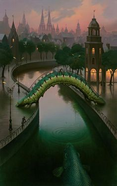 This image is surreal because of the fact that the caterpillar is humungous and serves as a bridge. This image is also very dream-like and somewhat calming. -Lisa Kalita