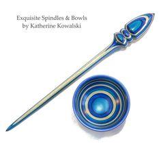Russian-Style Support Spindle & Spinning Bowl - Blue Sea - Wood, hand turned - (daystar) Katherine Kowalski woodturning, white turquoise