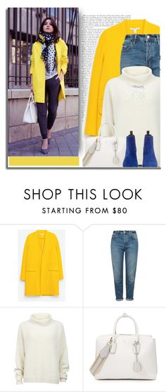 """""""Yellow, Blue and White"""" by bliznec-anna ❤ liked on Polyvore featuring mode, Zara, Topshop, Designers Remix, MCM en Acne Studios"""