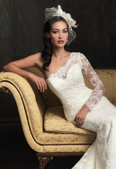 Allure Bridals 2014 ~ One shoulder + lace long-sleeve