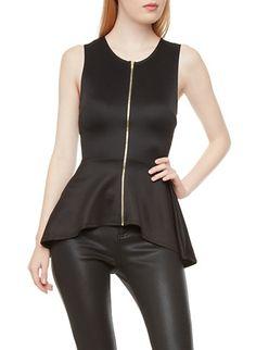 Sleeveless Scuba Knit High-Low Exposed Zipper Peplum Top