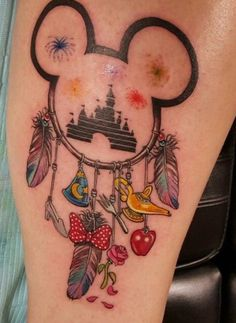 Disney Dreamcatcher Inspired Tattoo, Mickey Mouse, Minnie Mouse, Cinderella, Beauty & The Beast, Ariel The Little Mermaid, Snow White, Aladdin, Fantasia, castle, fireworks, feathers