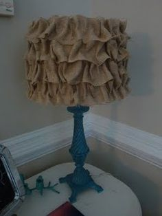 instead of burlap, maybe a softer more elegant fabric for the bedroom lamp shade