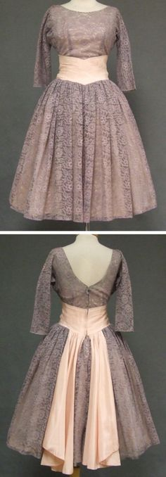 ~Beautiful 1950's cocktail party dress in a dusky purple lace, accented with pink taffeta. Sheer, fitted bodice with heart shaped pink acetate liner. Lovely, finely pleated taffeta waist with sashes at the rear, full gathered skirt. No maker label.  From the sold archives of Vintageous.c
