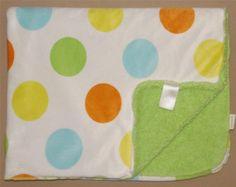 Carters White Velour Blue Orange Yellow Green Big Polka Dot Baby Blanket Large #Carters