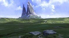 """The Cleaved Mountain"", Espen Sætervik on ArtStation at https://www.artstation.com/artwork/the-cleaved-mountain"