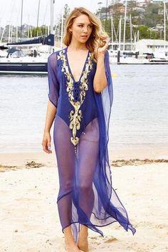 TheSwankStore Luxe Designer Silk Resortwear Fashion For Stylish Women Silk Kaftan, Long Kaftan, Resort Wear, Royal Blue, Curves, Cover Up, Stylish, How To Wear