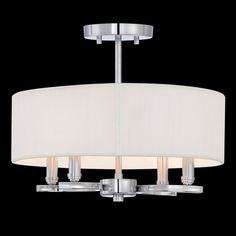"Kennedy Pendant/Semi Flush Mount by Eurofase ~ $296 Polished Chrome with Cream fabric shade. May be installed as a semi flush mount or as a pendant. Includes 3, 6, 12, and 18 inch extension rods. 4-60W candelabra bulbs are required. 14""W x 11""H"