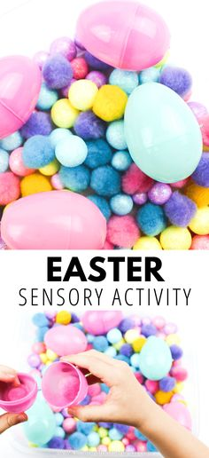 Try this fun hands-on Easter game for preschoolers and toddlers. Create a colorful Easter sensory bin with simple materials. Easter Activities For Preschool, Easter Games For Kids, Holiday Activities, Sensory Bins, Sensory Activities, Toddler Activities, Sensory Play, Sensory Table, Teaching Activities