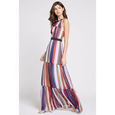 BCBGeneration Rainbow Stripe Maxi Dress ($138) ❤ liked on Polyvore featuring dresses, multi combo, maxi dresses, zipper neckties, halter party dress, neck-tie and bcbgeneration dresses