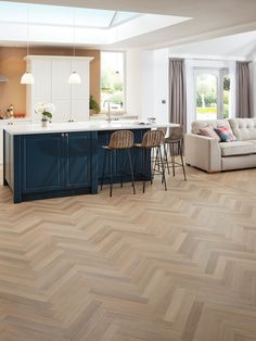 Buy Mountain Oak Karndean Art Select Wood Handcrafted Vinyl Flooring from our Vinyl Flooring range at John Lewis & Partners. Karndean Flooring, Herringbone Wood Floor, Kitchen Flooring, Vinyl Flooring Kitchen, Open Plan Kitchen Living Room, Kitchen Vinyl, Flooring, Living Room Wood Floor, Herringbone Tile Floors