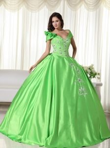 230ad04278a Spring Green Ball Gown Off the Shoulder Floor-length Taffeta Embroidery Quinceanera  Dress Turquoise Quinceanera
