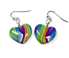 Rainbow Heart Earrings polymer clay jewelry Resin by BeadazzleMe