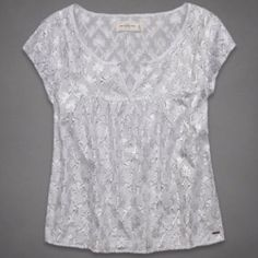 "Abercrombie and Fitch Sz L White Metallic Blouse Abercrombie and Fitch Sz L White Silver Metallic   Short sleeve  Length 26""  Bust 38-40  New Without Tags! Abercrombie & Fitch Tops Blouses"