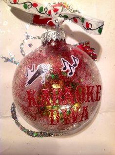 Karaoke+Diva+emoji+Glitter+Christmas+Ornament+Great+Gift+by+HopesSassyGlass+on+Etsy