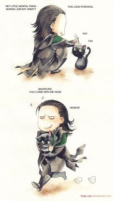 Yes Loki would own a black cat! ---> Funny thing if you think about it. Every black cat I've known has been the most affectionate out of all cats! So Loki needs one to fill the gap in his life. Loki Marvel, Loki Thor, Hero Marvel, Tom Hiddleston Loki, Marvel Comics, Lego Loki, Loki Cat, Loki Laufeyson, Johnlock