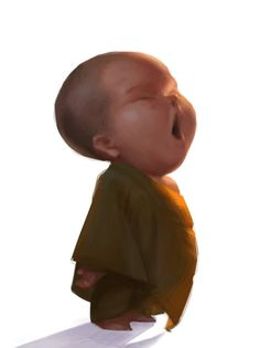 Little Monk waking up early. Artwork by Thai illustrator/artist who goes by Victorior. Imagination of Victorior facebook. Follow him.  Cute art and illustrations.