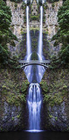 Multonmah Falls Reflection A reflection shot of Multonmah Falls in Oregon along the Historic Columbia River Highway. Multonmah Falls Oregon Historic Columbia River Highway water waterfall reflection mirror