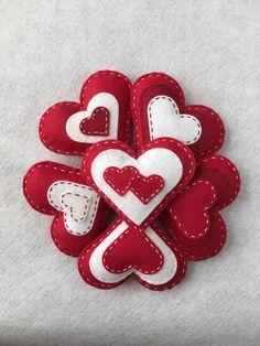 Felt Heart Valentine Ornament Set / Bowl Filler / Sachet